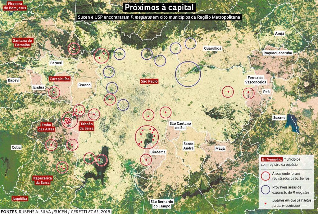 equipes da Superintendência de Controle de Endemias (Sucen) encontraram 135 insetos transmissores do protozoário causador da doença de Chagas em municípios da Grande São Paulo. Desses, 30,8% estavam infectados.